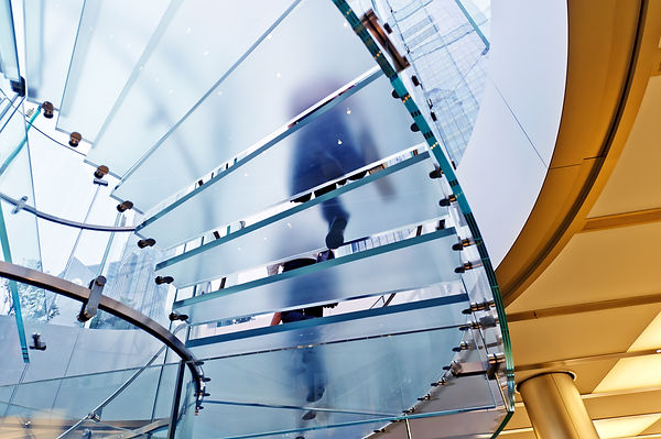 Modern Glass Staircase Silhouette of wal
