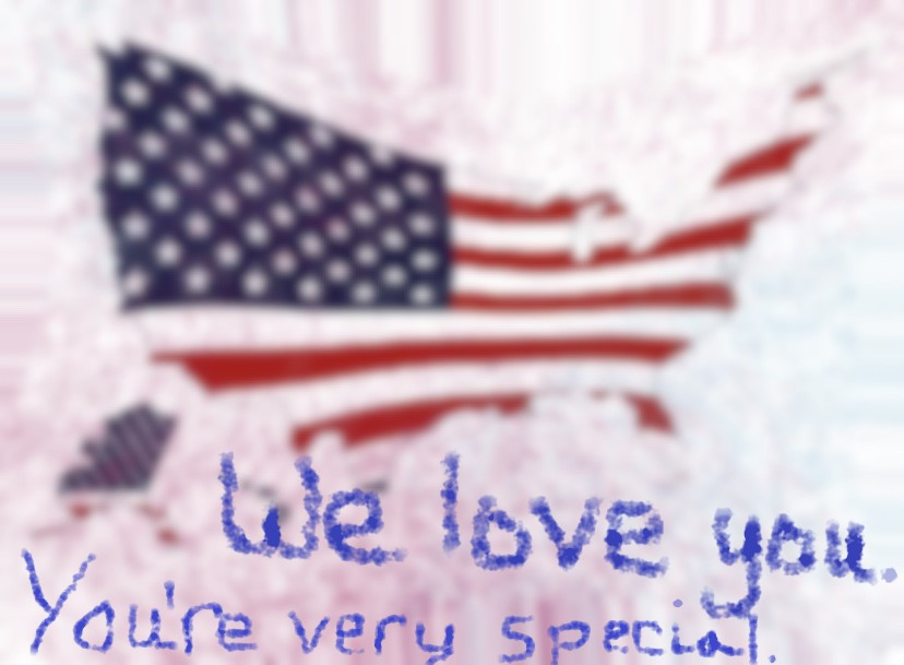 "The geographic outline of the U.S., in the colors of the American flag, and the words ""We love you. You're very special."""