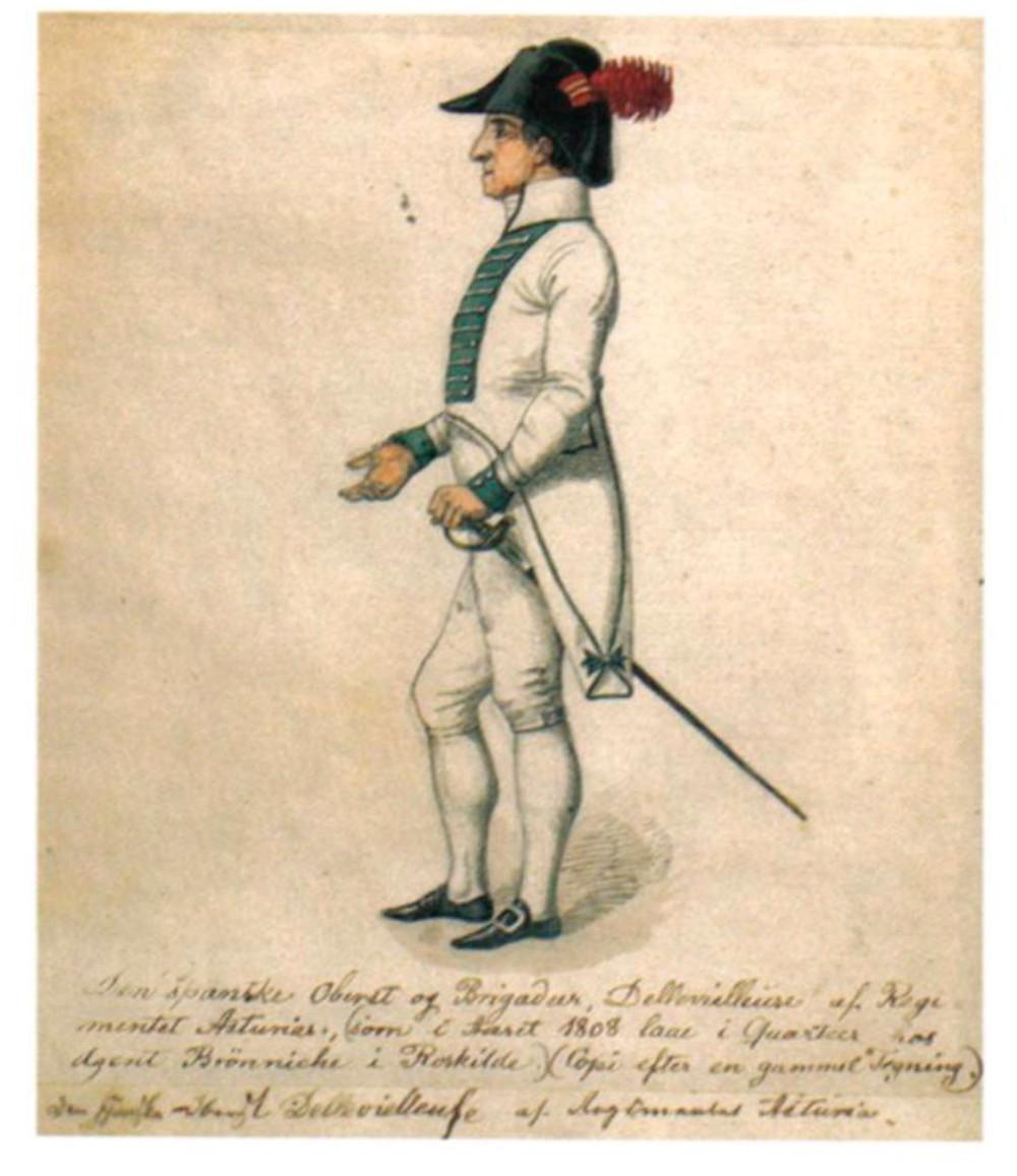 """Coronel Delevielleuze, de 74 años de edad, jefe del regimiento Asturias. Se le describe como un distinguido, """"un elegante caballero anciano"""". Murió en Francia alrededor de 1815. Museo de Roskilde"""