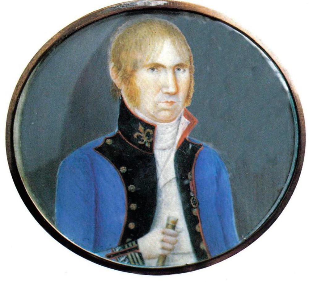 El Brigadier D. Joaquín Blake, Coronel del Rgto. de Voluntarios de la Corona, con su uniforme de 1802, todavía usado en 1808. Ver divisas en las vueltas y baston de mando. Miniatura nº 41078.03. Museo del Ejército, Madrid)