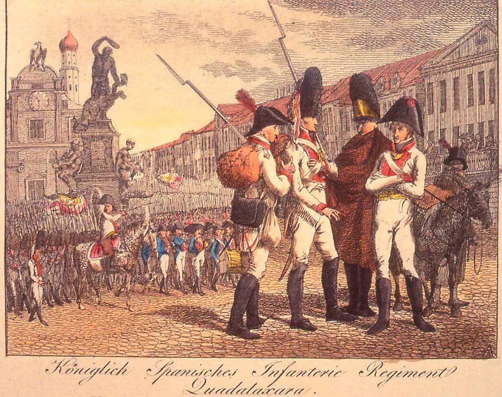 Rgto. Guadalajara: Coronel a caballo, banda de música, fusilero, granadero, gastador con su poncho y Teniente de fusileros, Dibujados por Rugendas en Augsburg, el 27 de mayo de 1807 ( Foto Guy C. Dempsey)
