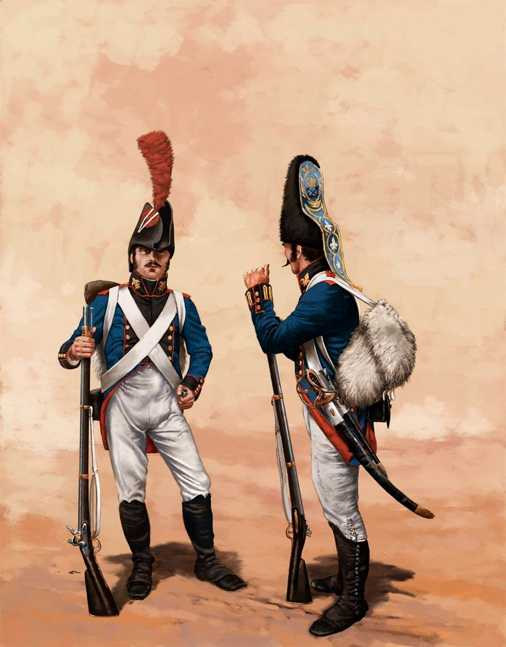 Fusilero y granadero con el uniforme reglamentado en 1802. El escudo de la manga del morrión corresponde al Rgto. de la Corona ( Inf. Dionisio A. Cueto)