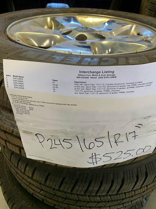"""2004-2007 Ford Explorer- P245/65/R17"""" Michelin tires with Aluminum Rims"""