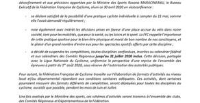 La FFC précise les conditions de la reprise des activités du sport cycliste