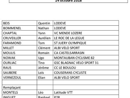 Listes des cadets engagés pour la CDF n°1 de Cyclo-cross