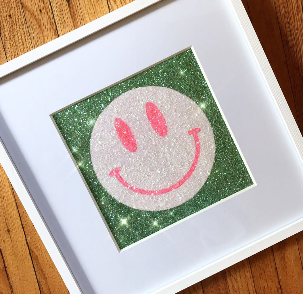 Framed Glitter Smiley