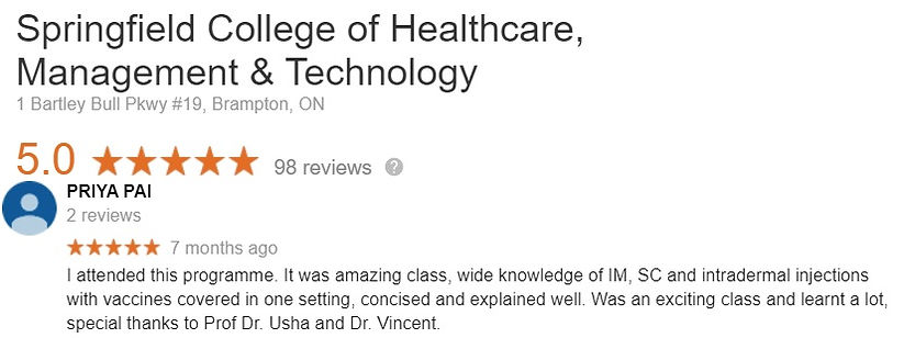 Injection Certificate program Student Review