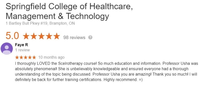 Sclerotherapy Certificate Student review