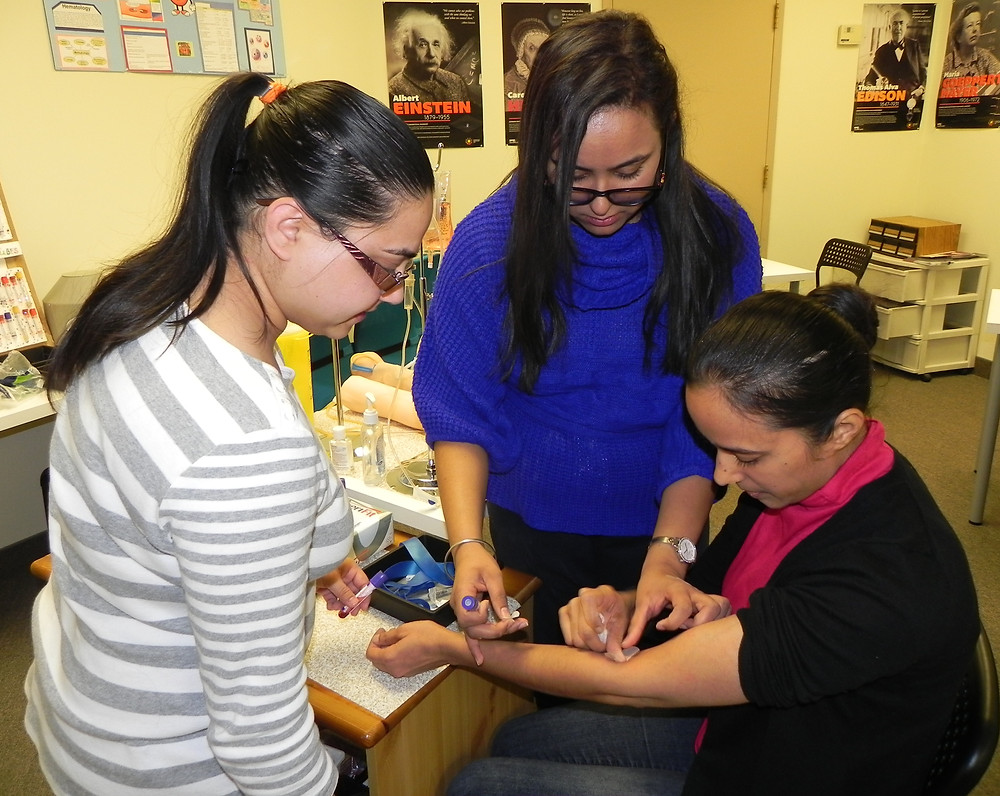Students practicing Ideal vein Selection for  Phlebotomy and  PRP