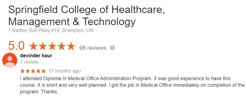Medical Office Assistant Student review