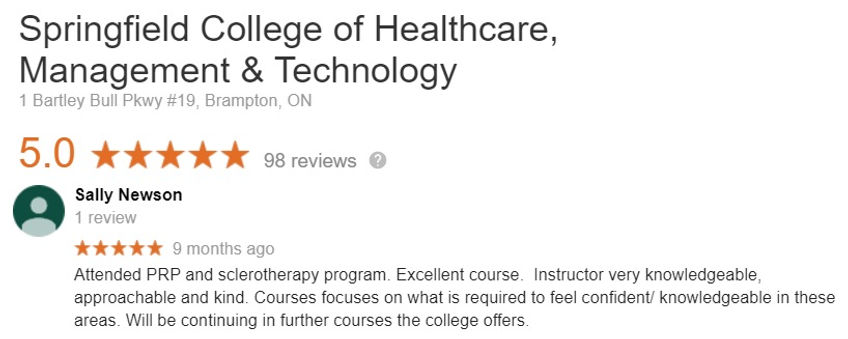 Sclerotherapy Certificate Student feedback