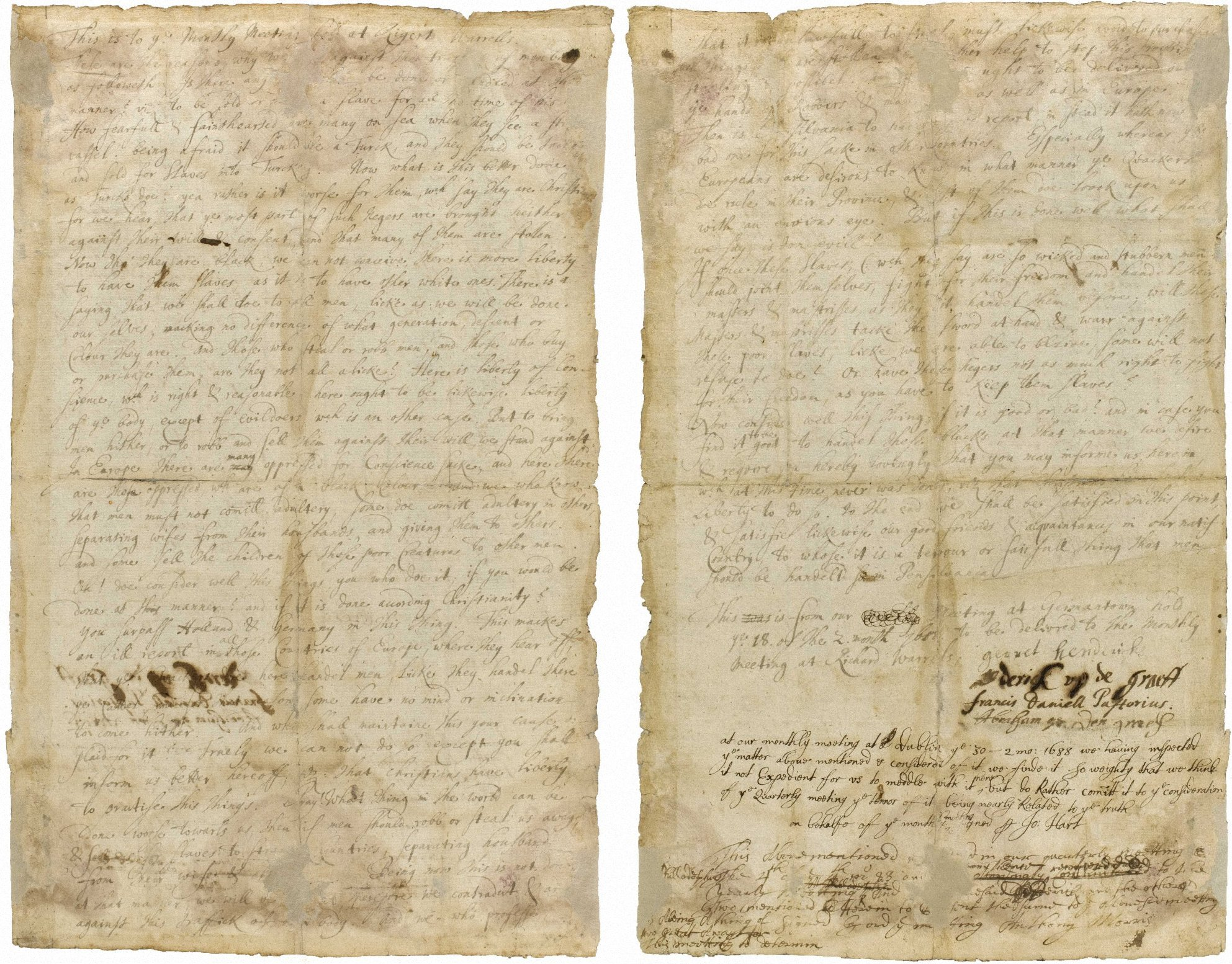 Quaker Petition Against Slavery