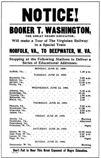 Handbill for Washington tour