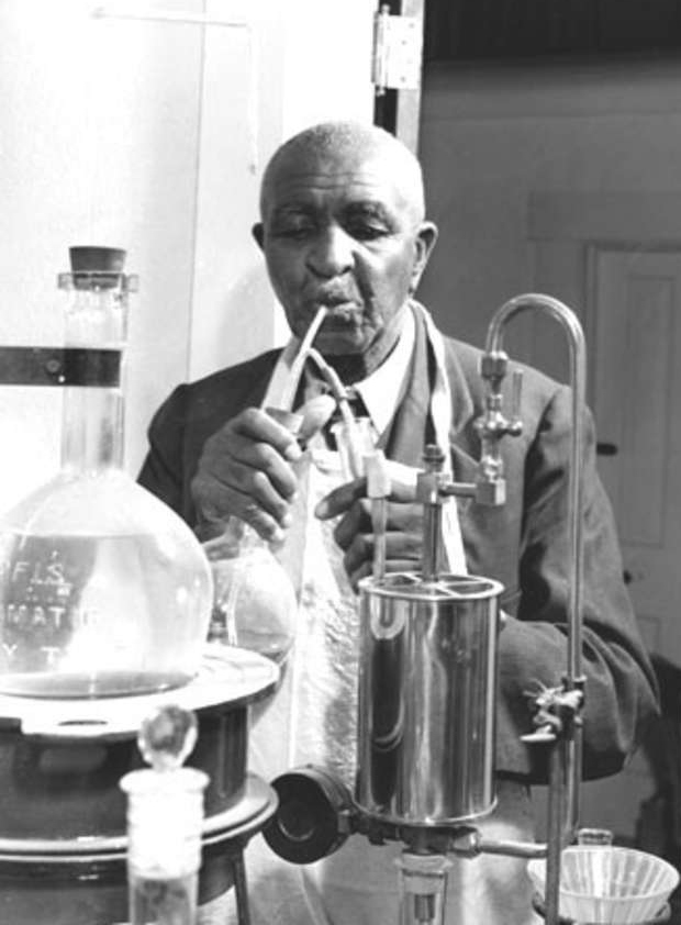 Carver in his lab