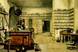 Michael Faraday in his laboratory
