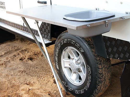 Stainless Steel Vehicle Side Mount Table w/ Basin