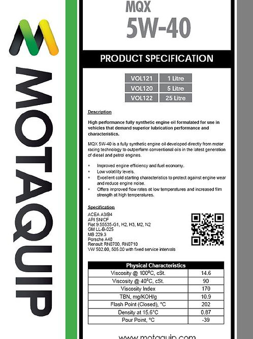 5W40 FULLY SYNTHETIC 5L MQX - VOL120