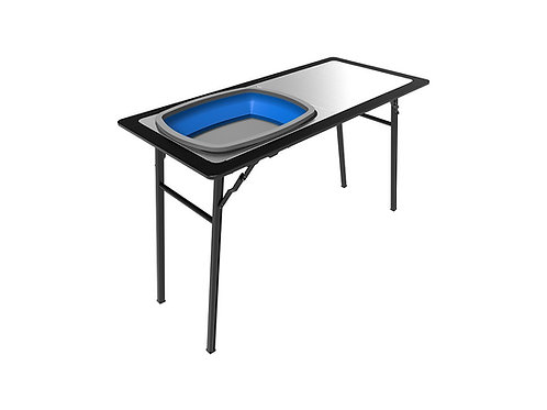 PRO STAINLESS STEEL PREP TABLE WITH FOLDAWAY BASIN - TBRA028