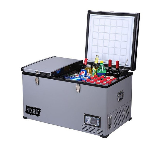Polarbox 100L Stainless Compressor Fridge 12v 24v Dual Compartment