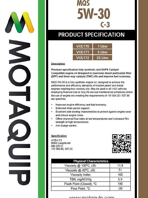 5W30 FULLY SYNTHETIC C3 5L MQS - VOL171