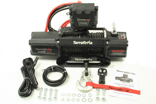 Terrafirma A12000 Winch - Synthetic Rope Wirelss+Cable Remot Control - TF3301
