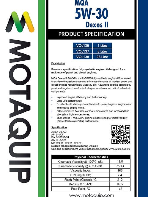 5W30 FULLY SYNTHETIC MID-SAPS DEXOS II MQA -VOL137