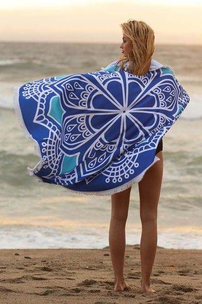 Blue Mandala Round Beach Towel