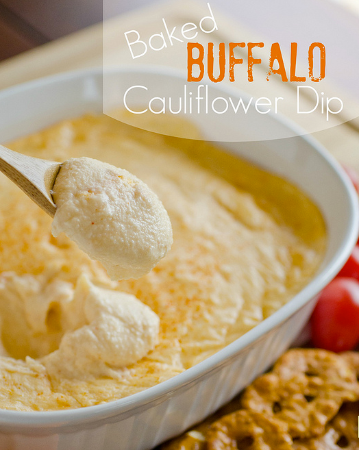 Baked Buffalo Cauliflower Dip Found at Seededatthetable.com