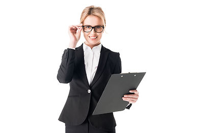 smiling-businesswoman-holding-clipboard-