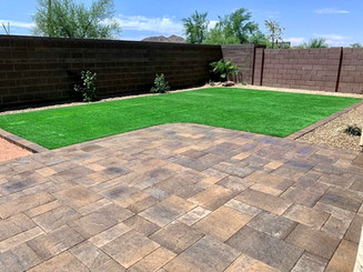 Combo Design with Paver & Synthetic Grass