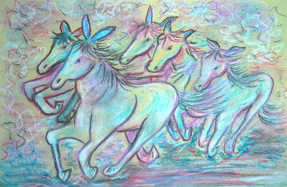 Unicorn or horse original painting in acrylics by Jill