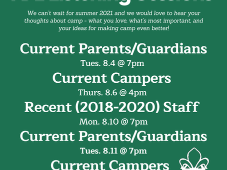 Current Campers, Families, & Recent Staff Listening Sessions