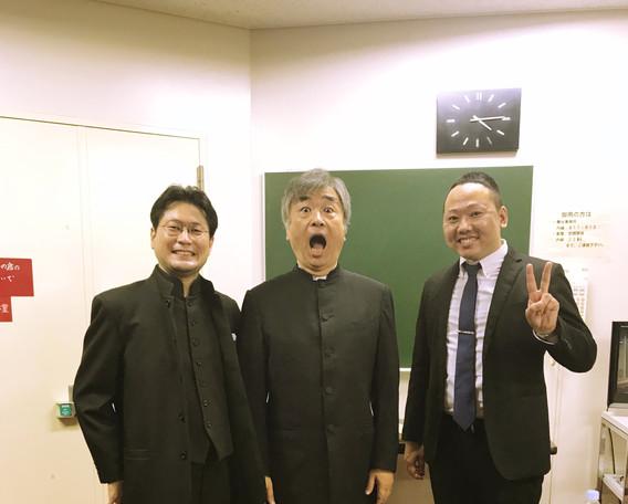 清水敬一先生、中村拓紀先生と、指揮者3ショット。  2018.7 大久保混声合唱団第41回定期演奏会
