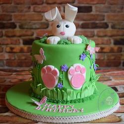 Sweet little bunny cake with a hidden su