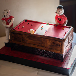 """9""""x13"""" carved pool table with two gumpaste bulldogs $340"""