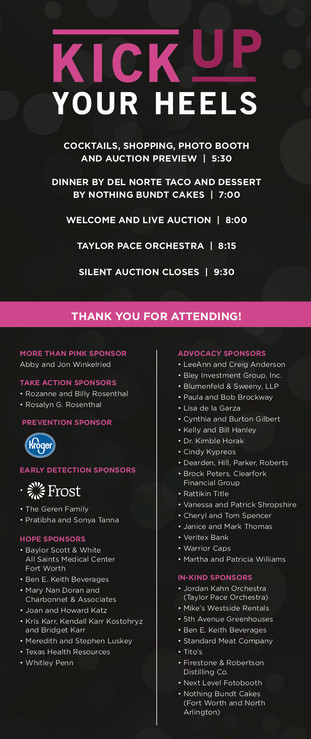 Komen Greater Fort Worth Event Program