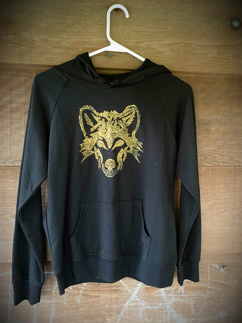 "BLACK/METALLIC GOLD ""U R NOT ALONE WOLF"" LINO-PRINT HOODIE"