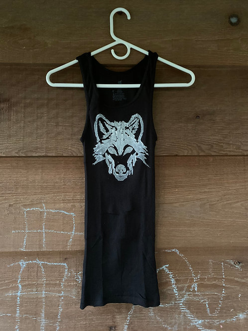 Ribbed Black Tank with WHITE WOLF