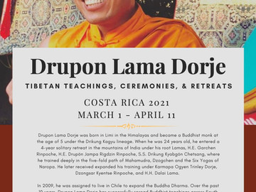 Welcome Drupon Lama Dorje to our Southern Zone of Costa Rica