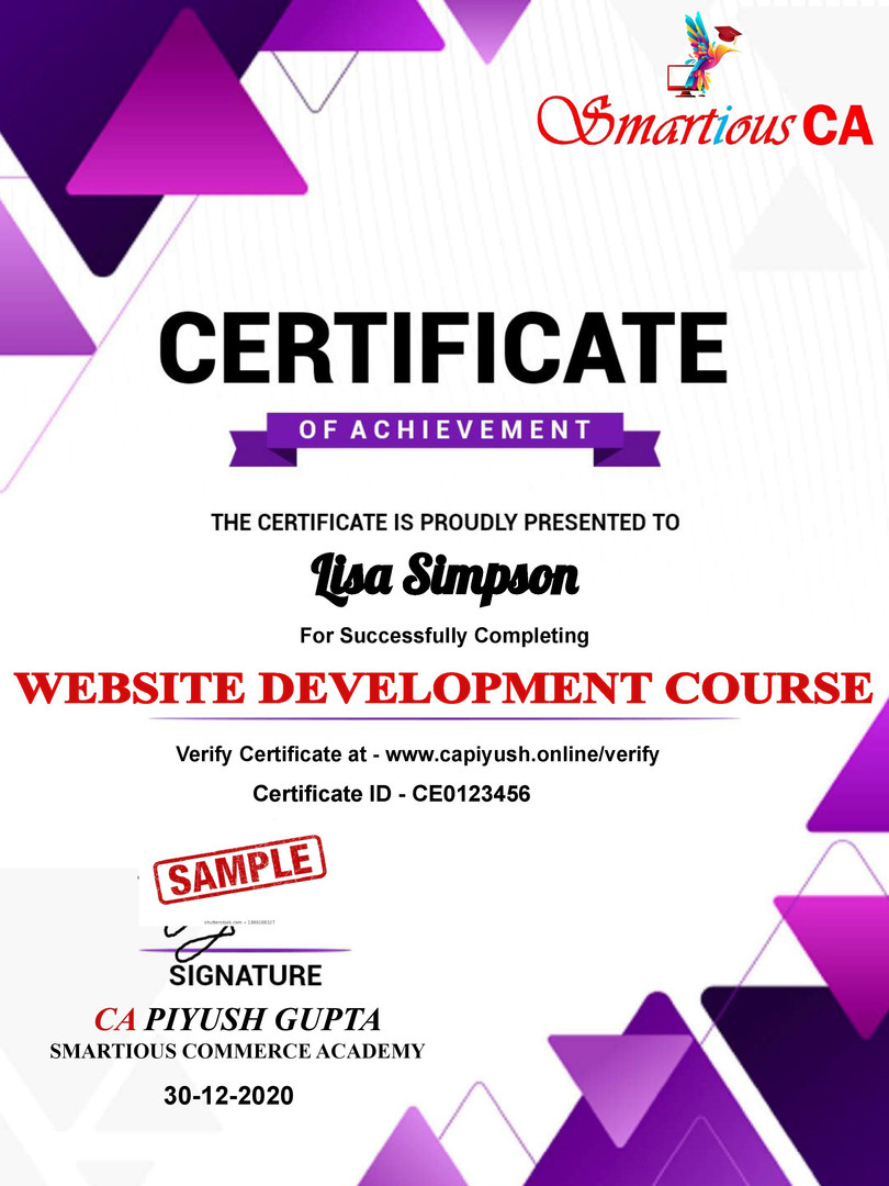 Certificate for Lisa Simpson for _Websit