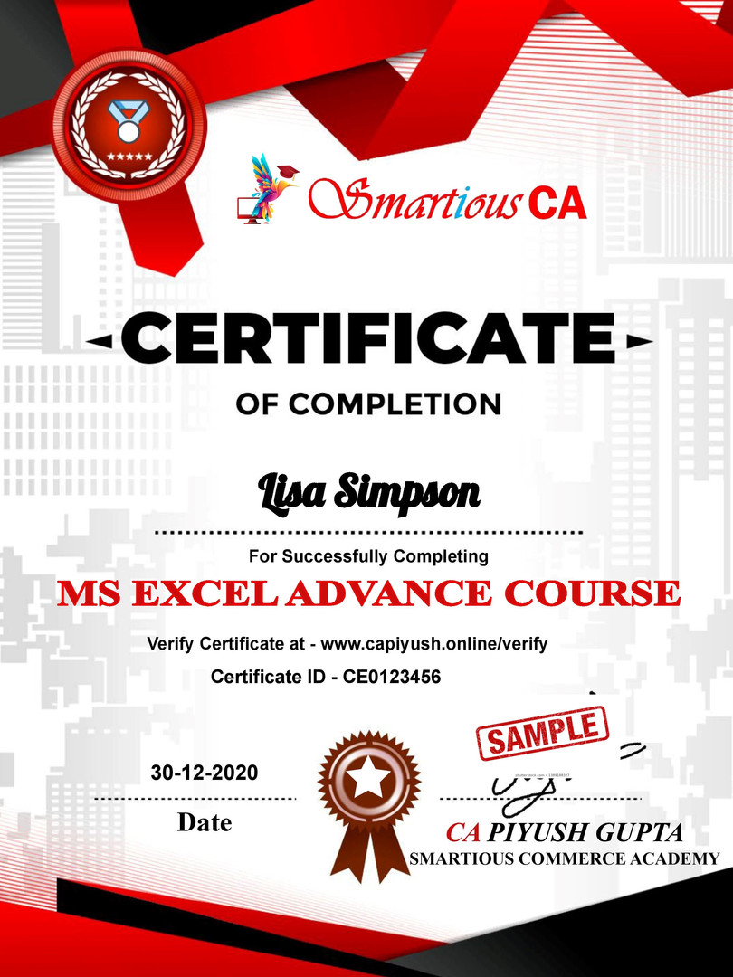Certificate for Lisa Simpson for _Excel