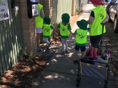 Pre-K's trek across the park to experience inter-generational learning