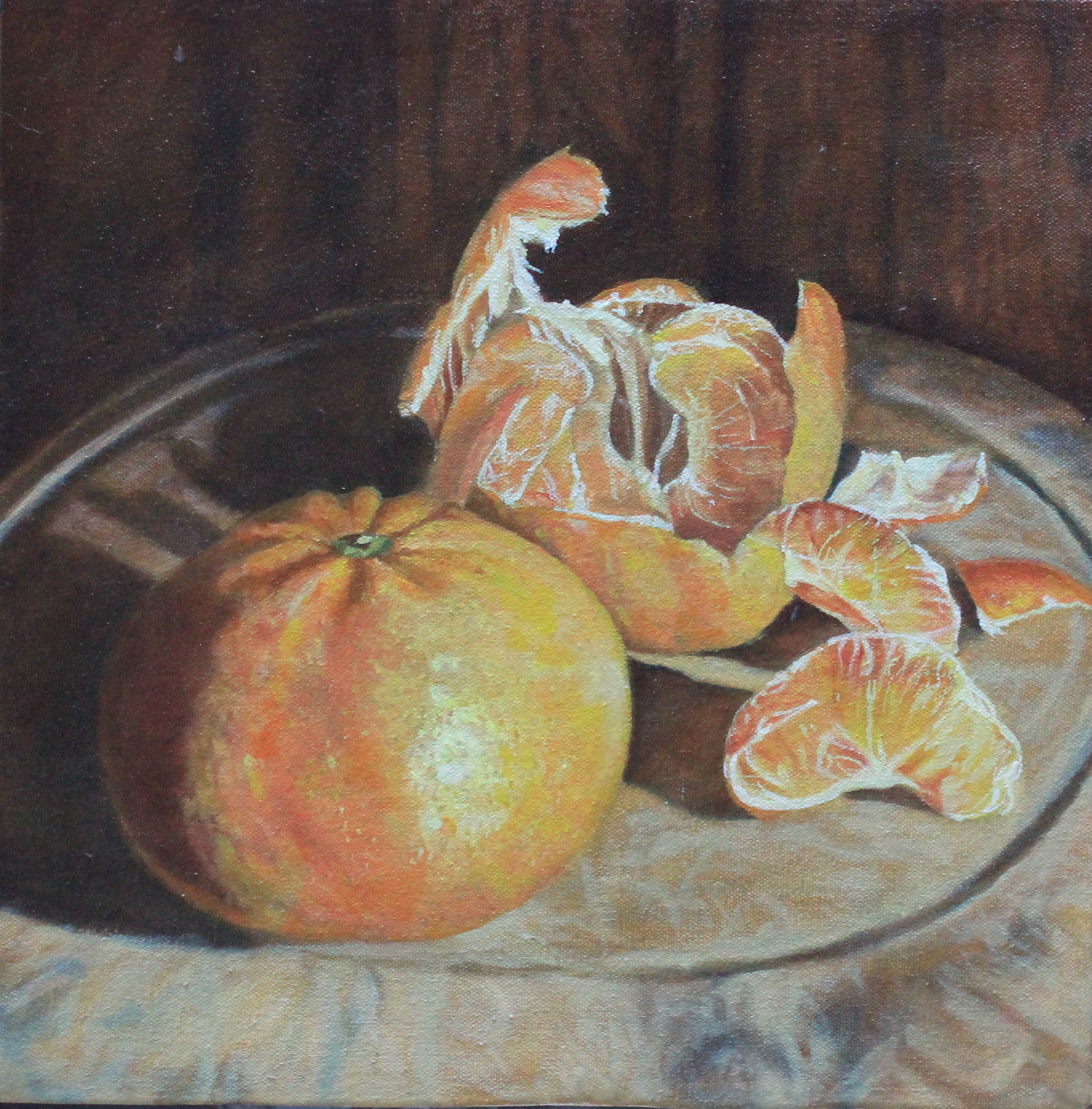 mandarins on wooden board - 12%22 x12%22