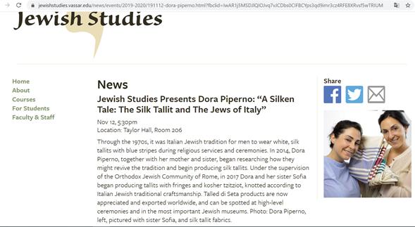 Talled di Seta lecture on Nov. 12 2019 at Vassar College