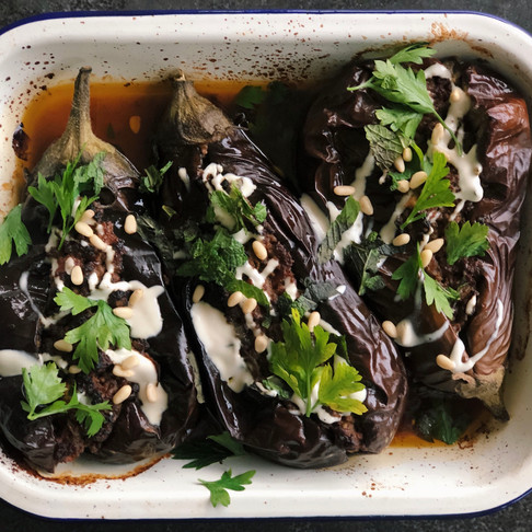 Middle Eastern Eggplant with Spiced Mince