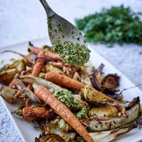 Roast Vegetable Medley with Pesto and Buttery Almonds