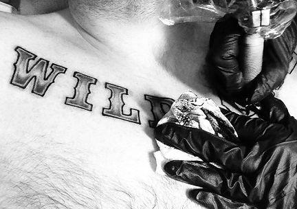 Lettering tattoo in progress Leonie at Yobori Tattoo kingston Ny