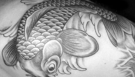 black and grey japanese koi tattoo