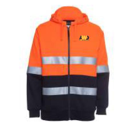 Hi Vis Hoodie - Orange / Navy