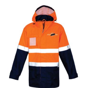 Hi-Vis Waterproof Jacket - Orange / Navy